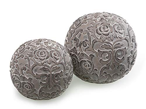 Dio 2er Set Dekokugel Rosen Ornament Kugel grau Beton Ø 10-12 cm Haus Gartendeko