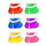 Bramble 12 Pack Neon Poker Visier, Sonnenvisiere, Schirmkappe, Sonnenblenden, Hüte & Kopfbedeckungen - Herren Damen - 80s Retro Casino Pub Golf Sun Visor Cap