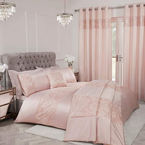 Sleepdown Sequin Leaf Floral Blush Pink Panel Band Duvet Cover Quilt Bedding Set with Pillowcases - Super King (260cm x 230cm)