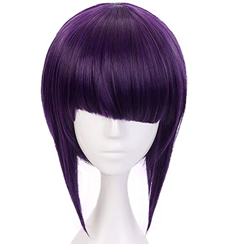 Anogol Hair Cap+Purple Cosplay Wig Synthetic Hair Bob Wigs With Fringe Hairstyles Anime Wigs