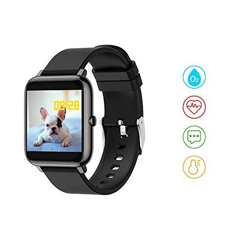 Huyeta smartwatch Voller Touch Screen Fitness Armbanduhr Smart Watch mit Blutdruck Messgeräte Pulsoximeter Pulsuhren Musiksteuerung Fitness Tracker Schrittzähler Uhr für iOS Android
