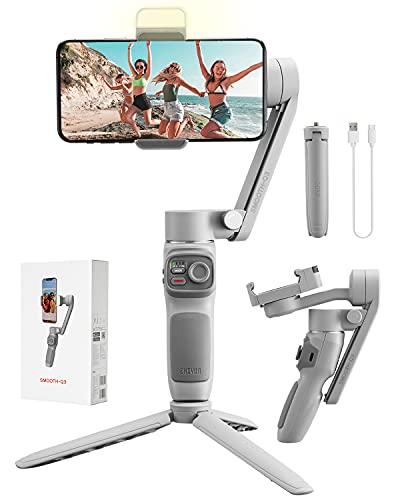 Zhiyun Smooth Q3 Gimbal Smartphone, 3 Assi Stabilizzatore Smartphone con luce di riempimento, Controllo gestuale, per Vlog/Youtuber/ Live Stream, Carico utile 280g per iPhone /Samsung/Huaiwei/Xiaomi