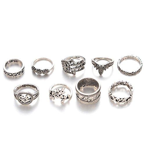 lumanuby Anillo Juego de 9pcs boho estilo elefante y Fátima mano Vintage dedo anillo Articulación regalo para chica, anillos serie
