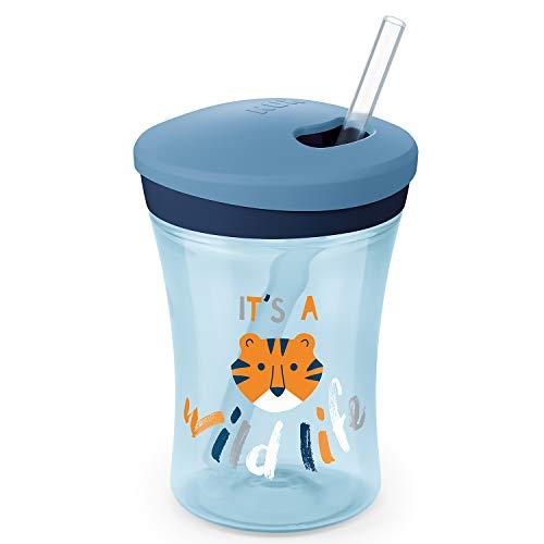 NUK Action Cup Trinklernflasche, weicher Trinkhalm, auslaufsicher, 12+ Monate, BPA-frei, 230ml, Tiger (blau)