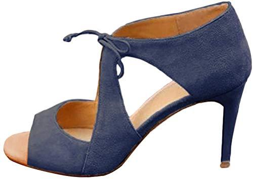 Minetom Zapatos para Mujer-Sandalias De Tacon Alto De Aguja-Elegantes-Novia-Boda-Nupcial-Vestido De Fiesta-Correa De...