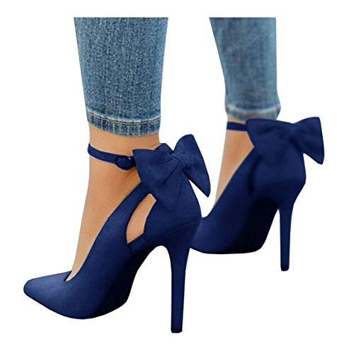 PiePieBuy Women's Pointed Toe High Heels Ankle Strap D'Orsay Pumps Shoes Bow Wedding Bowtie Back Dress Sandals (9 B(M) US - EU Size 40, Navy)