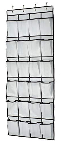 Organizer über der Tür für Schuhe, Multifunktionale Hängeorganizer, hängend Aufbewahrungstasche für Schlafzimmer, Badezimmer, Schrank, schuhaufbewahrung hängend, 24 Tasche, Weiß