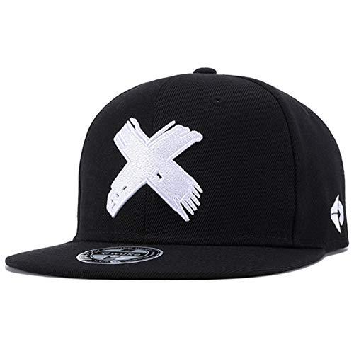 Sporty Snapback Cap Cross Hip Hop Baseball Flat Brim Mütze Kappe Basecap (schwarz/weiß)
