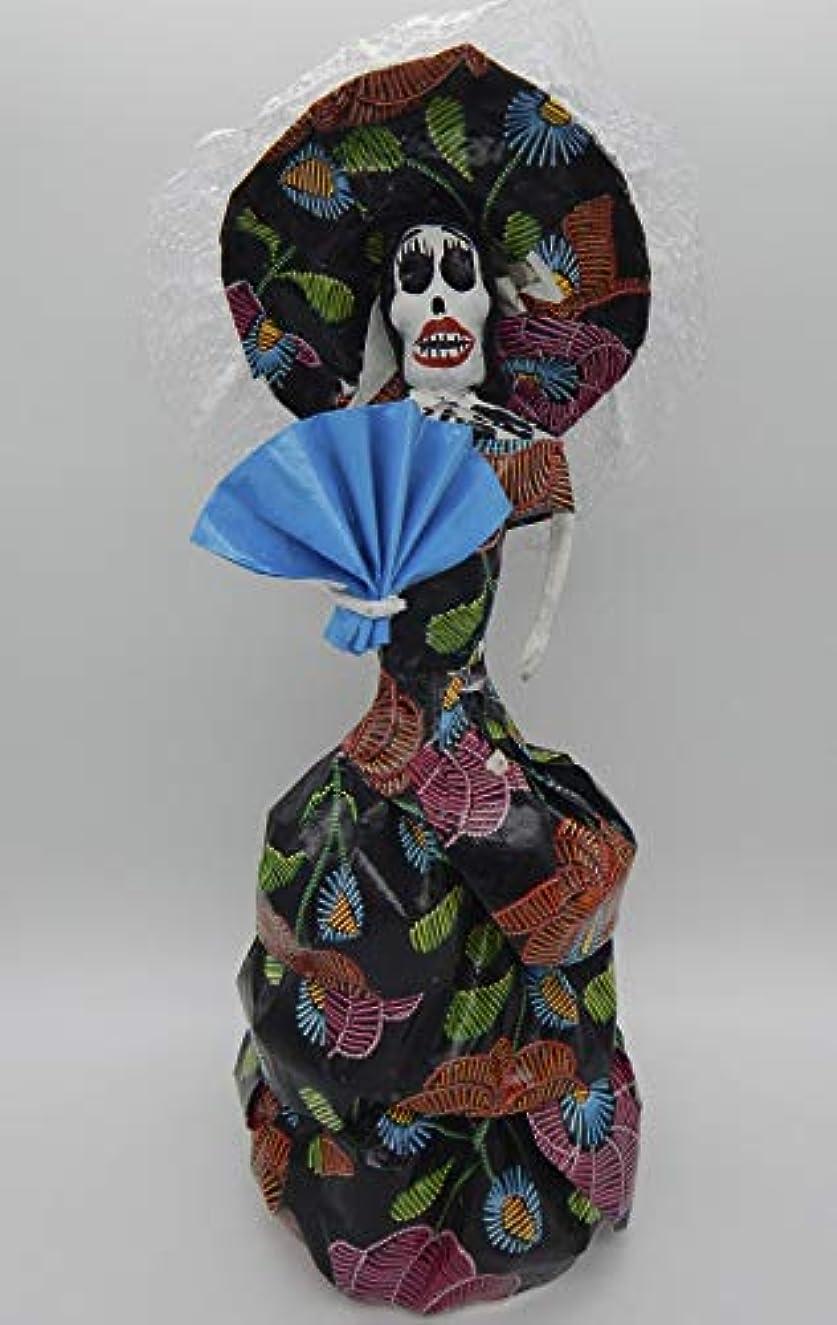 COLOR Y TRADICIóN Mexican Catrina Doll Day of Dead Skeleton Paper Mache Dia de Los Muertos Skull Folk Art Halloween Decoration Fan # 1584