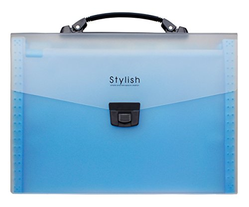 Shuter 13-Pockets A4 Expanding Accordion File Folder with Handle, Buckle Closure and Subject Labels.(Blue)