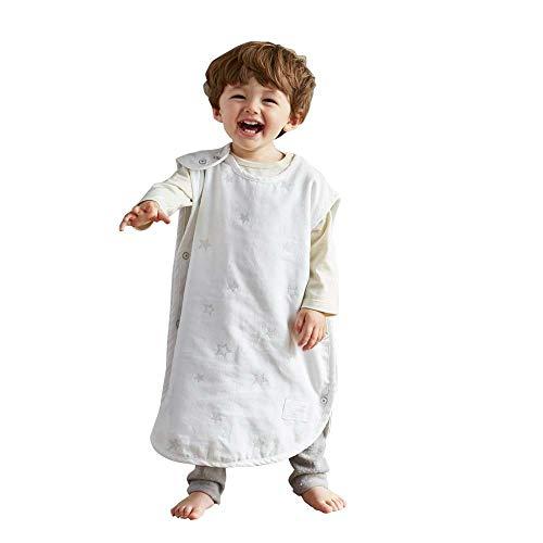 [10mois(ディモワ)]ダブルガーゼベビースリーパー夏用コットン100%ホワイトベビー着丈58cm新生児~3歳頃まで3014