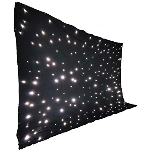 Stage Backdrop 3m x 4m Fireproof Black Fabric White LED Star Curtain DMX LED Starry Sky Cloth Background With Controller For Stage Wedding Party Band Dj Decoration
