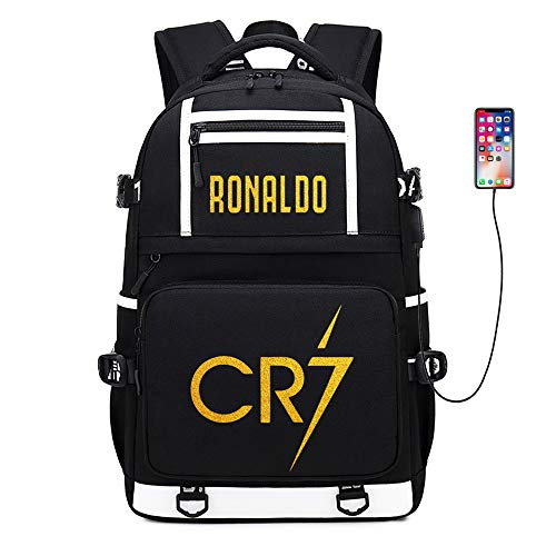 Soccer Player Star Ronaldo CR7 Multifunction Travel Student Backpack Football Club Fans Schoolbag (Style 1)