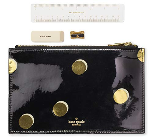 Kate Spade New York Black/Gold Pencil Pouch, Leatherette Travel Zipper Pouch/Clutch, Scatter Dot