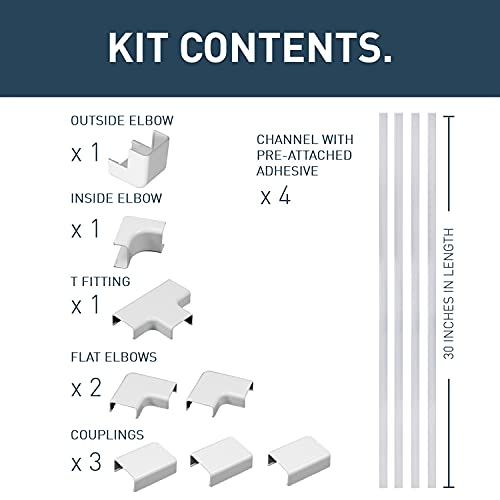 Wiremold CMK50 Cord Mate II Kit- Raceways Cord Management Kit to Hide Cables, Cords, or Wires- 4 Channels, White