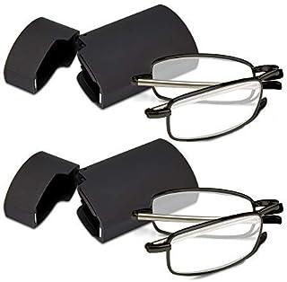 Marc De Rez Foldable Mini Reading Glasses 2 Pack - Flip Top Cases - Folding Prescription Readers For Men and Women
