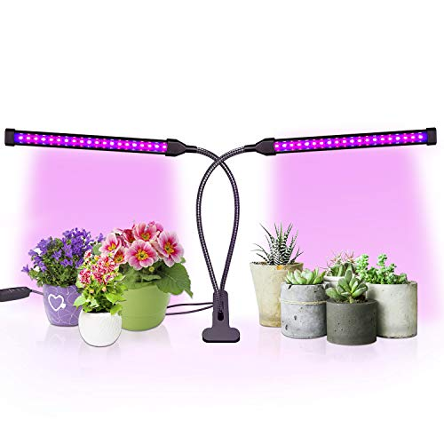 Sondiko Grow Light, Auto On&Off Every Day Full Spectrum Grow Lamp with 3/9/12H Timer, Adjustable Gooseneck 10 Dimmable Levels&3 Switch Modes for Indoor Plants, Black