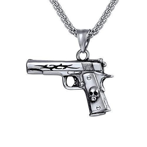U7 Edelstahl Pistole Beretta M9 Form Anhänger Halskette Coole Armee Gewehr Form mit 60cm/3mm Weizenkette Männer Jungen Hip Hop Modeschmuck Geschenkidee für Geburtstag