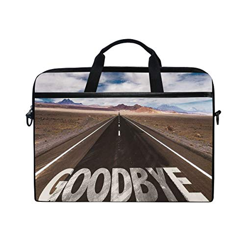 FOURFOOL 15-15.6 inch Laptop Bag,Goodbye Written On Asphalt Road in Highway City Urban Words,New Canvas Print Pattern Briefcase Laptop Shoulder Messenger Handbag Case Sleeve