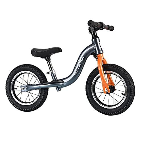 Bicicleta Equilibrio Bicicleta de Equilibrio de Entrenamiento de Aluminio - para Estudiantes/Nietos/Niños Pequeños, Bicicleta Sin Pedales Gris con Asiento Ajustable, Edad 2-10 Años ( Size : 14 Inch )