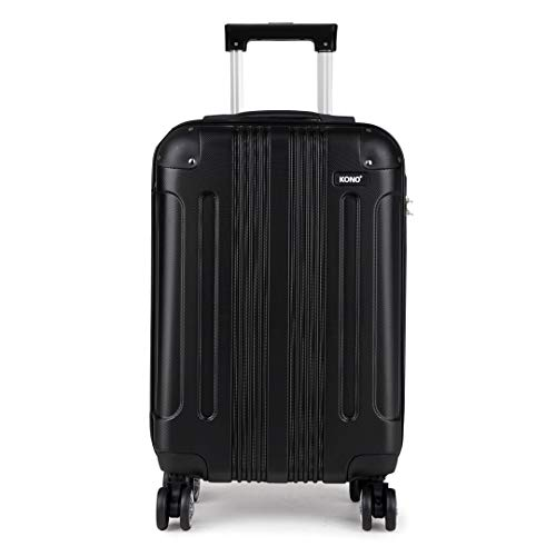 Kono 20 Inch Hard Shell Luggage Lightweight ABS 4 Wheels Spinner Business Trip Trolley Case Cabin Carry-on Hand Suitcase (Black,S)