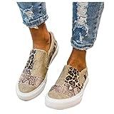 ZBYY Zapatillas de deporte para mujer, de verano, con puntera redonda, de leopardo, de lona, casual, zapatos planos para caminar al aire libre
