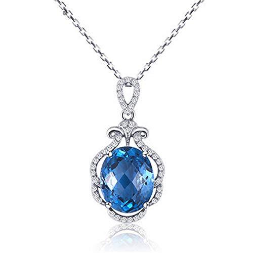 Collar de cristal para mujer, cadena de clavícula, elegante y simple, europeo y americano, colgante de gema de topacio azul natural