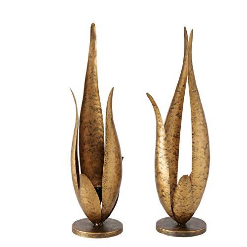Juego de 2 candelabros de metal, 37 cm, diseño de hojas, color dorado