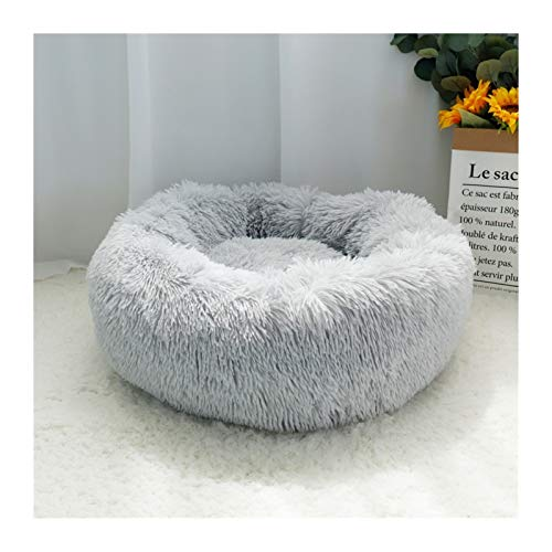 Pet Dog Bed Round Warm Fleece Medium-sized Large Dog Cat Soft Sofa Cushion Plush Winter Pet Dog Bed (Color : Light Gray, Size : Diameter 70cm)