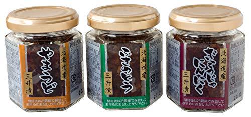 三升漬 100g 3種セット(ヤマウド・フキノトウ・行者ニンニクを使った北海道の郷土料理) 山独活、蕗の薹、ぎょうじゃにんにくのさんしょうづけ ご飯のお供・おつまみにオススメの惣菜 三升漬食べ比べセット