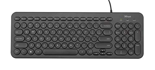 Trust Muto Wired Full Size Multimedia Keyboard for PC and Laptop, Low profile compact keyboard with Quiet Keys, UK Layout, Black
