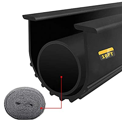 """Garage Door Weatherproofing Seals Bottom Rubber Weather Stripping, 16' Long 5/16"""" T Ends 3 3/4"""" Width Universal Durable Threshold Weatherstrip with Steel Wool Fill Fabric"""