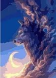 HAO Pintura de Bricolaje por números Pintura al óleo Arte de la Pared Imágenes Decoración para la decoración del hogar Lobo bajo la luz de la Luna 40x50cm Sin Marco