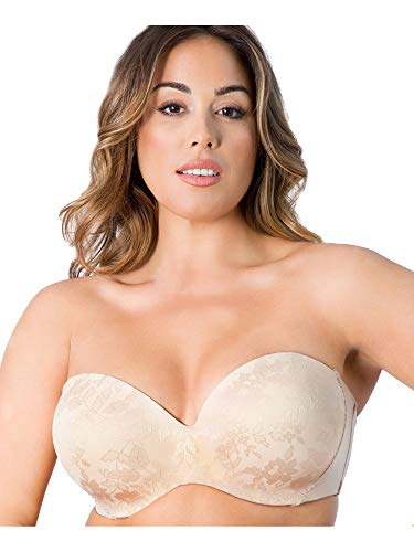 Curvy Couture Women's Plus-Size Strapless Sensation Multi-Way Bra Bra, Bombshell Nude, 38 DDD