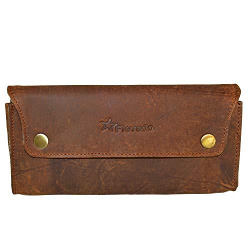 flevado Vintage Leder Tasche RFID Schutz Universelles Lederetui Stiftetasche, Kosmetiketui, Handtasche Clutch ect.