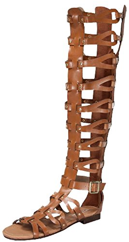 Forever Atta Alyssa 17 Womens Knee High Caged Gladiator Strappy Flat Sandals Tan,Tan,8.5