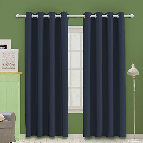 MOOORE Navy Blue Bedroom Blackout Curtains, Eyelet Ring Top Thermal Insulated Soft Window Darkening Panel for Kitchen | Living Room | Boy Room Decoration 46 X 72 Inch Drop Navy Blue 2 Panels
