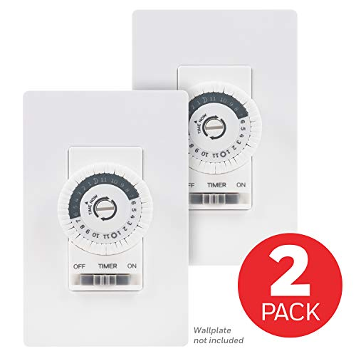 UltraPro Honeywell 24-Hour Mechanical in-Wall 3 Pack, Dial Timer, 30-Minute Intervals, Push Pins, Neutral Wire Required, Override Switch, Single-Pole, Ideal for Lights, LED, CFL 47978, White