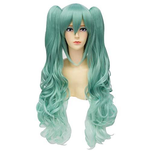 Vorwind Vocaloid Cosplay Hatsune Miku Double horsetail Green Gradient Curly Wig
