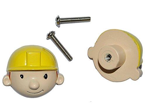 alles-meine.de GmbH 2 TLG. Set: Möbelknauf Bob der Baumeister - Möbelgriff / Möbelknopf - Kunstharz - Holz für Kinder Kinderzimmer Möbel Jungen Schränke Schubladen