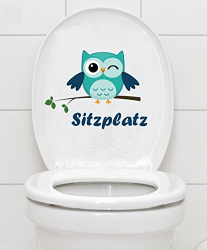 Mabi-IN-Design WC Aufkleber Sitzplatz Eule - Toilette Badezimmer Bad Toiletten Fliesen A040