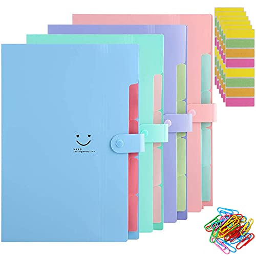 Carpeta Clasificadora, 4 piezas A4 Carpetas Plastico Archivador con Tapa Separadores Acordeón, Folios Colores Organizador Documentos Archivadores Papeles Documentos Clasificador