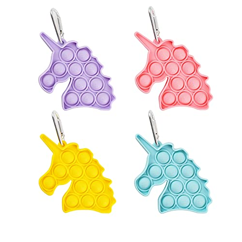 4Pcs Unicorn Sensory Pop Fidget Toy Mini Stress Relief Hand Toys Keychain Toy Push Pop Bubble Wrap Pop Anxiety Stress Reliever Office Desk Toy for Kids Adults (Yellow Green Pink and Purple)