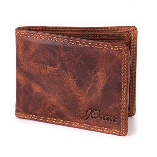 JOriginal Vintage Geldbörse Premium-Leder MEDIUM - Ledergeldbeutel Herren naturbelassen - Portemonnaie Querformat 11,5 x 8,5 x 2cm (L H B)