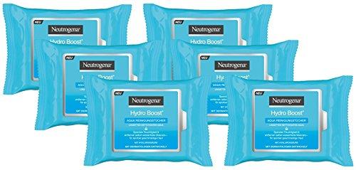 Neutrogena Hydro Boost Aqua Reinigungstücher (6x25 Stück) - Abschminktücher mit Hyaluron - für normale, empfindliche und trockene Haut
