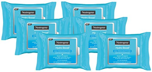 Neutrogena Hydro Boost Aqua Reinigungstücher, Abschminktücher für normale, empfindliche und trockene Haut (6 x 25 Stück)