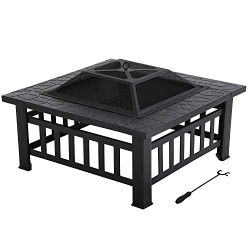 Outdoor Fire Pit for Wood 32' Metal Firepit for Patio Wood Burning Fireplace Square Garden Stove with Charcoal Rack, Poker & Mesh Cover for Camping Picnic Bonfire Backyard