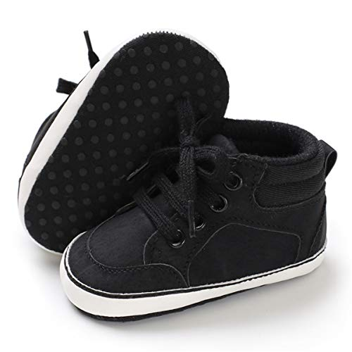 BENHERO Baby Girls Boys Canvas Shoes Toddler Infant First Walker Soft Sole High-Top Ankle Sneakers Newborn Crib Shoes (0-6 Months M US Infant), B-Black