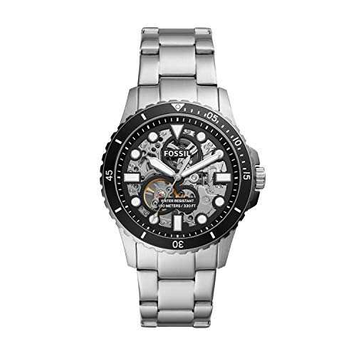 Fossil Men's FB-01 Automatic Watch with Stainless Steel Strap, Silver, 22 (Model: ME3190)