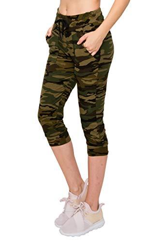 ALWAYS Women Camo Capri Jogger - Super Skinny Fit Lightweight Premium Soft Stretch Drawstrings Pockets Pants 143 S